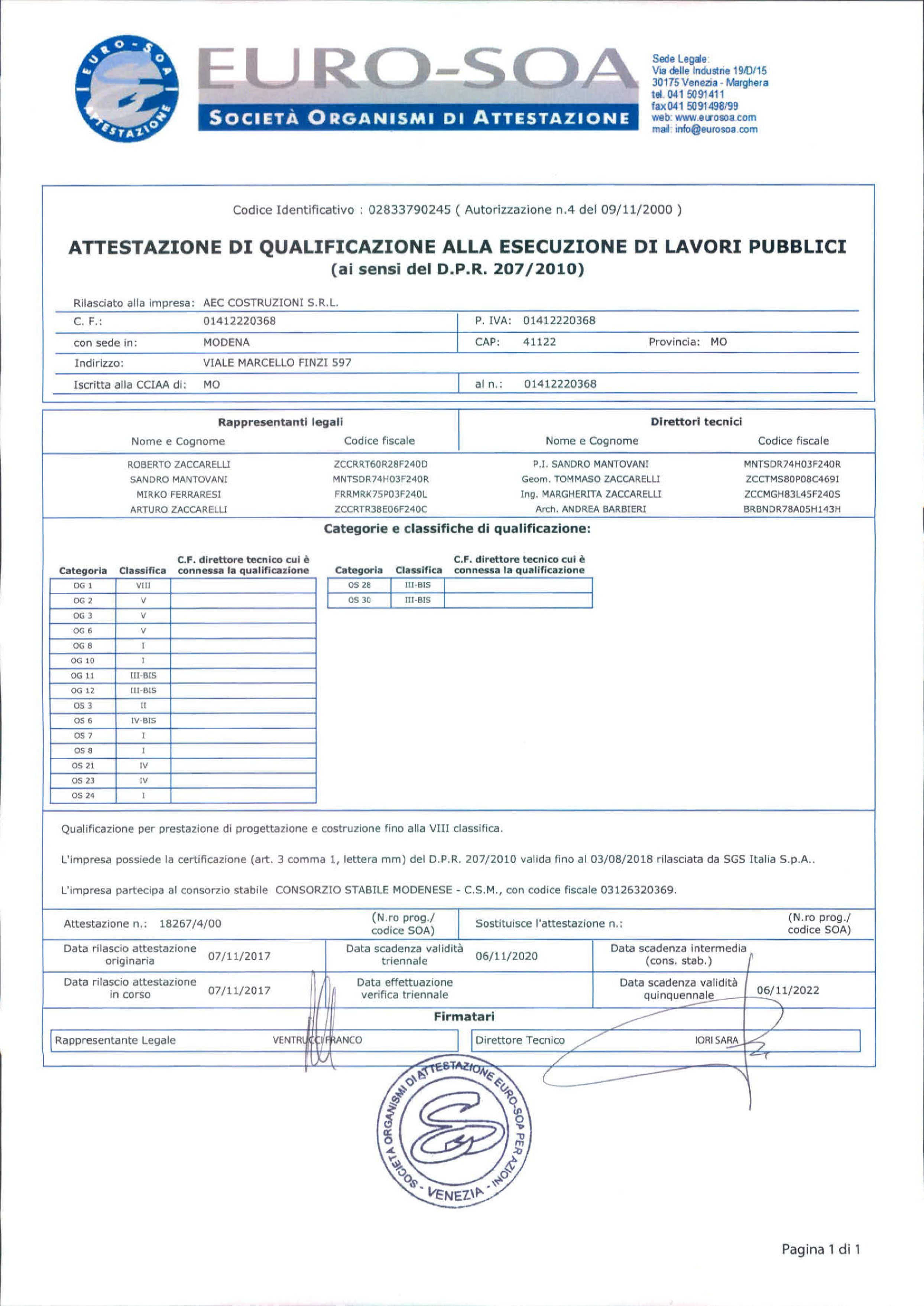 Certifications aec costruzioni certification soa 1betcityfo Image collections